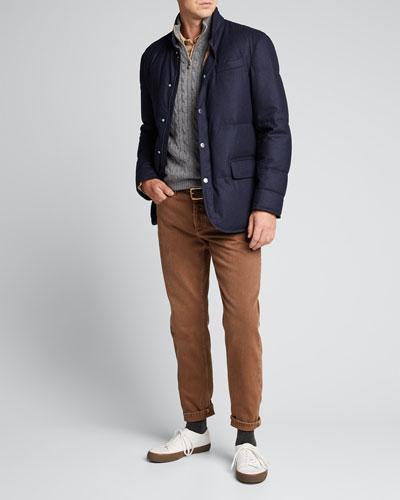 Men's Down-Filled Snap-Front Jacket