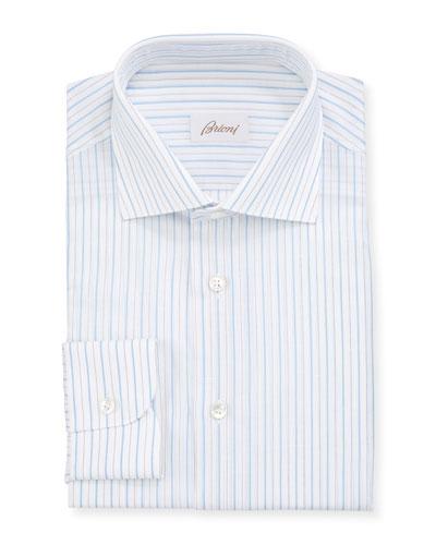 Men's Cotton-Linen Striped Dress Shirt