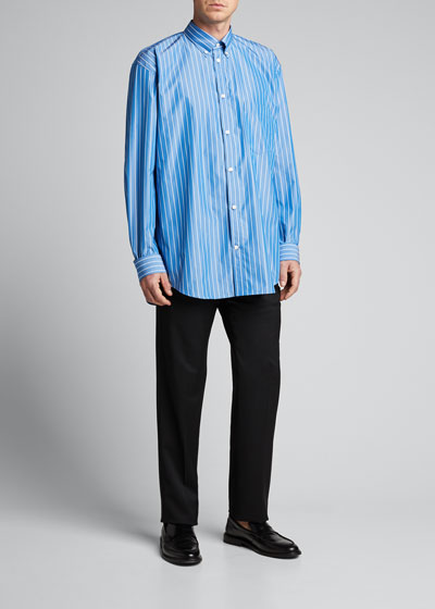 Men's Oversized Pinstripe Poplin Sport Shirt with Logo Back