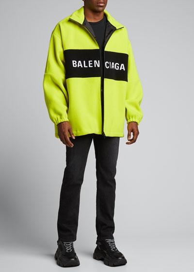 Men's Oversized Wool Zip-Front Jacket