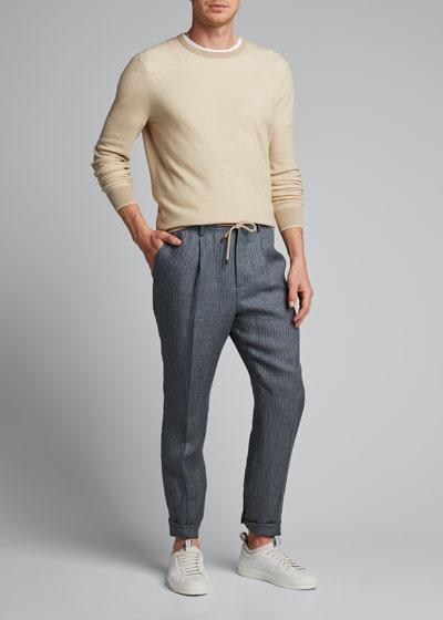 Men's Exclusive Leisure-Fit Drawstring Suit Separate Pants