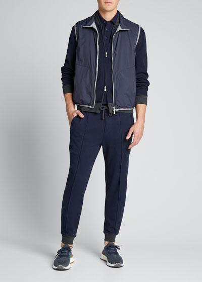 Men's Zip-Front Knit Bomber Jacket