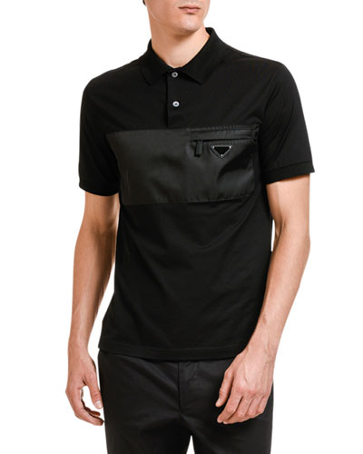 Men's eather-Inset Pocket Polo Shirt