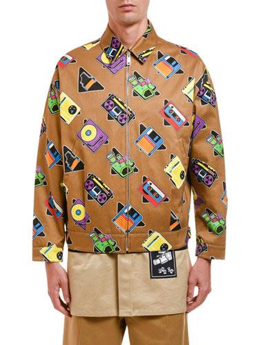 Men's Graphic Digital-Print Zip-Front Jacket