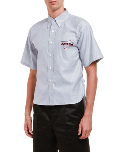 Men's Oxford Striped Crop Sport Shirt