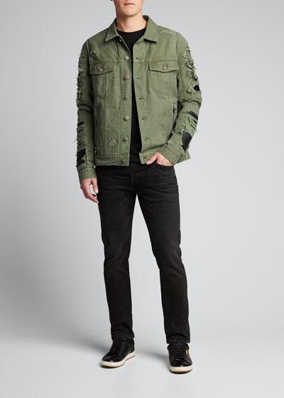 Men's Destroyed Denim & Faux-Leather Jacket