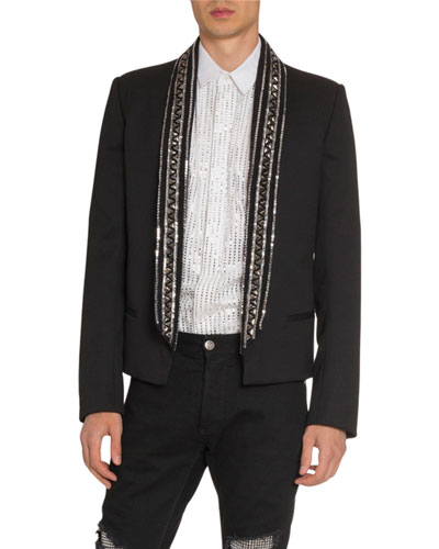 Men's Embroidered Collar Evening Jacket
