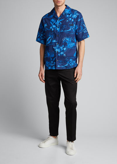 Men's Hawaiian Floral Poplin Short-Sleeve Shirt