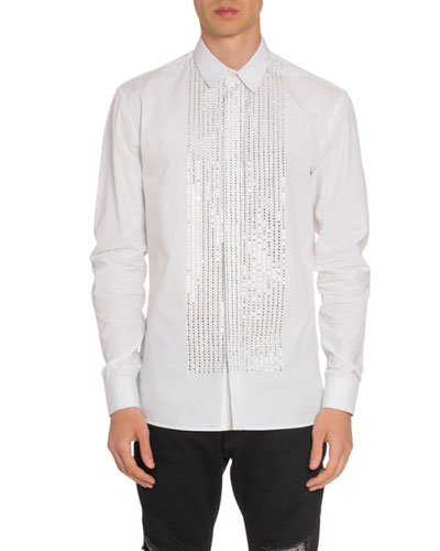 Men's Poplin Embellished Bib Sport Shirt