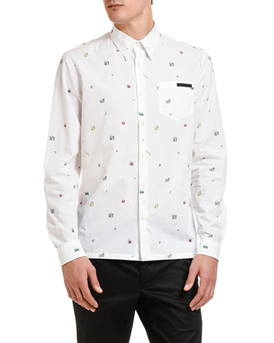 Men's Poplin Toys Point-Collar Sport Shirt