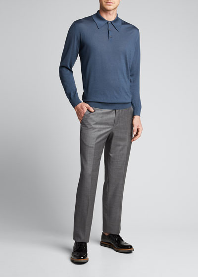 Men's Wool Long-Sleeve Polo Shirt
