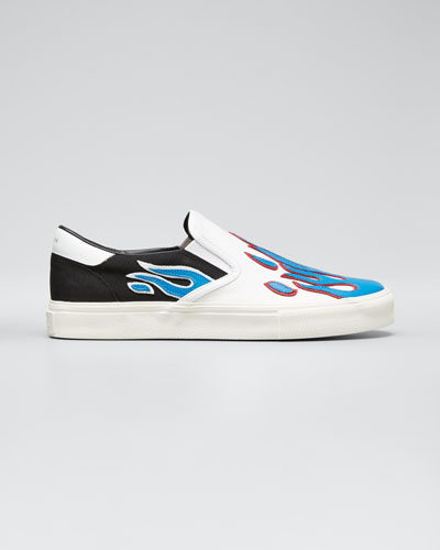 Men's Canvas Slip-On Sneakers w/ Leather Flames