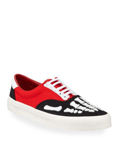 Men's Canvas & Leather Skeleton-Toe Sneakers