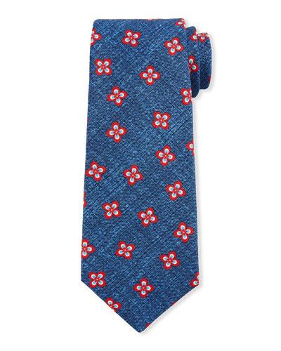 Men's Four Petal Flower Silk Tie