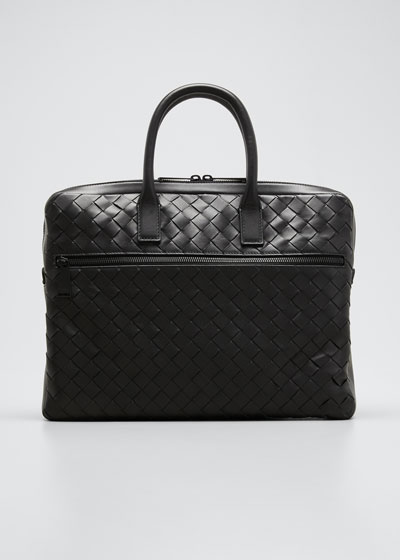 Men's Borsa Large Woven Leather Briefcase