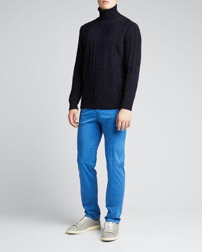Men's Solid 5-Pocket Stretch Pants, Royal Blue