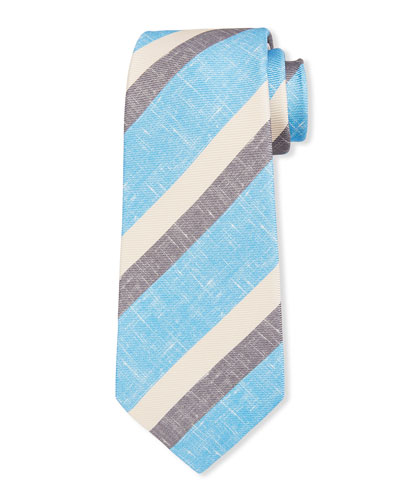 Men's Large Double-Stripe Silk Tie