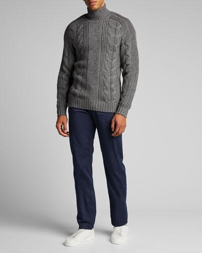 Men's Solid 5-Pocket Stretch Pants, Navy