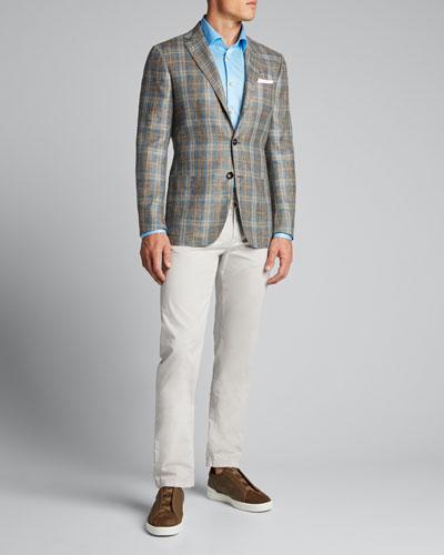 Men's Solid 5-Pocket Stretch Pants, Sand