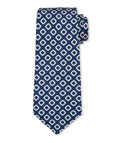 Men's White Boxes Silk Tie