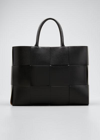 Men's Borsa Large Woven Leather Tote Bag