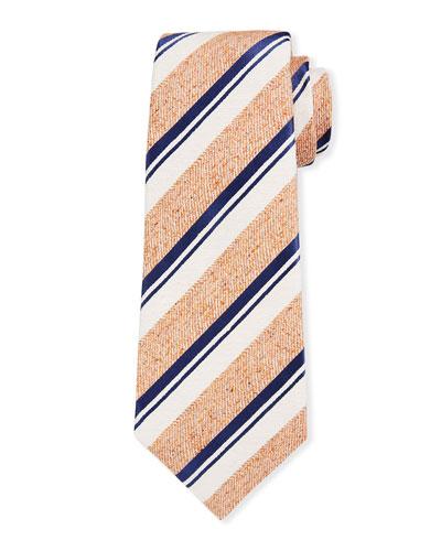Men's Textured White Stripe Silk Tie