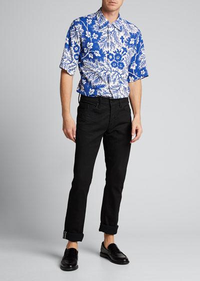 Men's Two-Tone Floral Sport Shirt