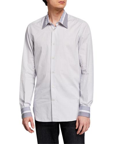 Men's Striped Point-Collar Sport Shirt