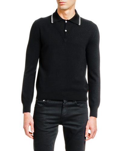 Men's Long-Sleeve Striped-Collar Polo Sweater