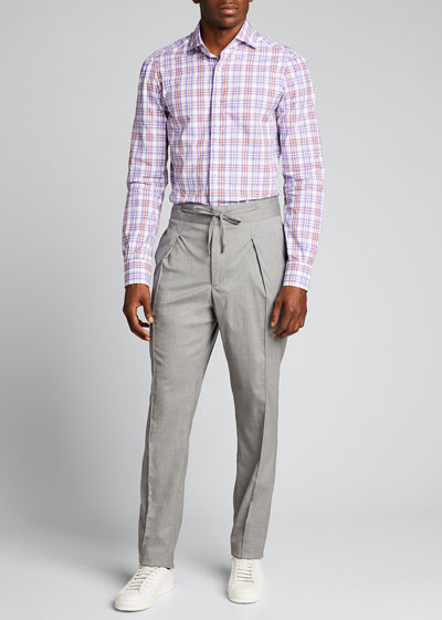 Men's Pleated Tapered Wool-Blend Trousers