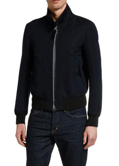 Men's Solid Cotton-Silk Blouson Jacket