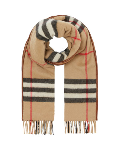 Men's Quilted Giant Check Cashmere Scarf
