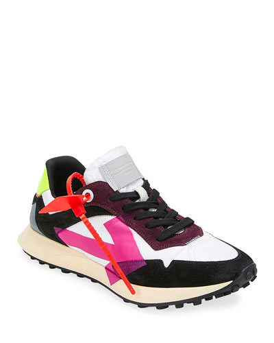 Men's Arrow Suede-Trim Trainer Sneakers, White