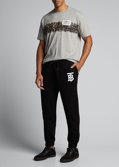 Men's Leopard-Stripe Logo Crewneck Tee