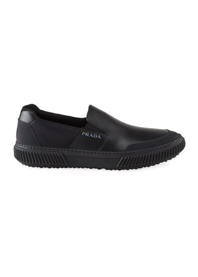 Men's Mesh & Leather Slip-On Sneakers