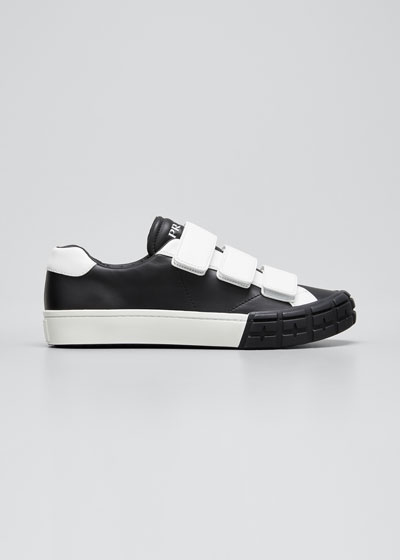 Men's Two-Tone Grip Strap Leather Sneakers