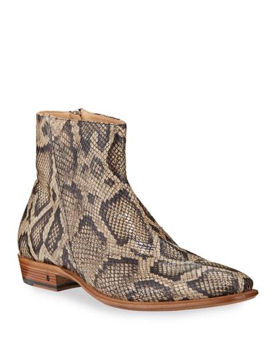 Men's Lewis Python-Print Side-Zip Boots