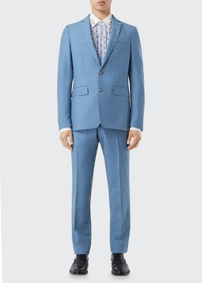 Men's Solid Wool-Mohair Suit Jacket