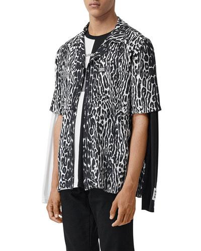 Men's Leopard-Print Camp Shirt