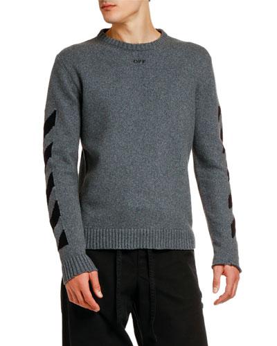 Men's Arrow Intarsia Knit Raw-Edge Sweater