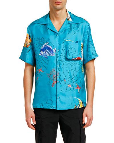 Men's Fishnet Holiday Silk Short-Sleeve Sport Shirt