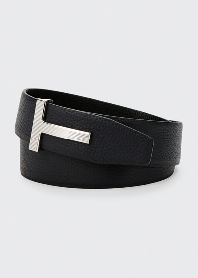 Men's Ridged T-Buckle Reversible Leather Belt