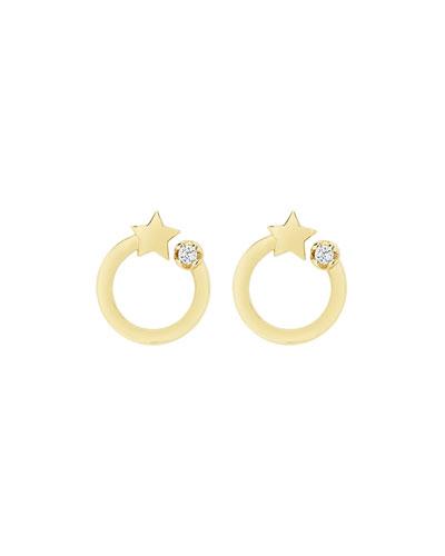14k Shooting Star Circle Stud Earrings