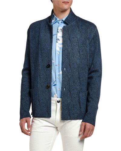 Men's Textured-Knit Sweater Jacket