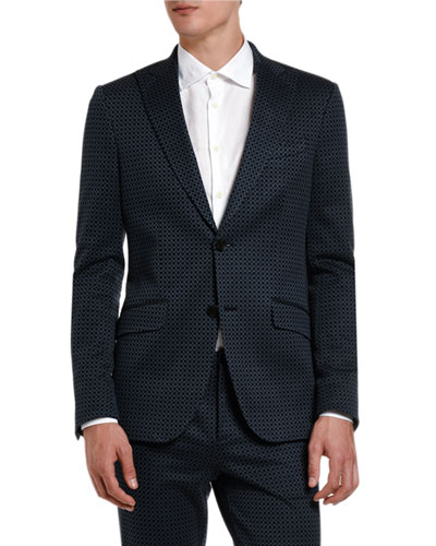 Men's Tiny Cross Knit Two-Button Blazer