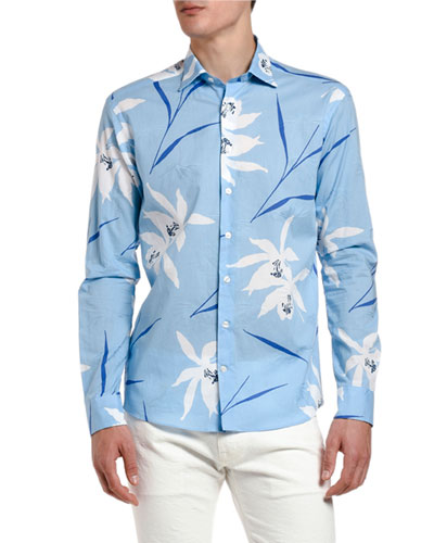 Men's Big Floral Print Sport Shirt