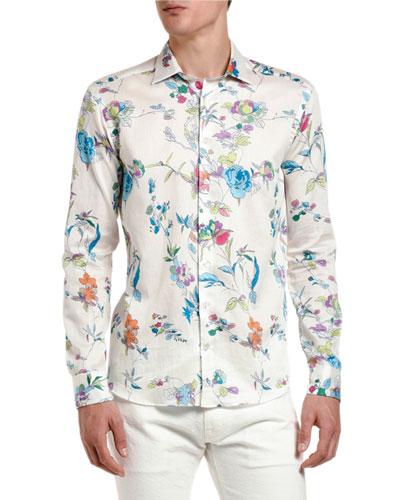 Men's Floral Vine Long-Sleeve Sport Shirt