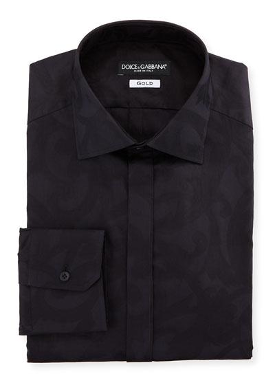 Men's Baroque Jacquard Hidden-Button Dress Shirt