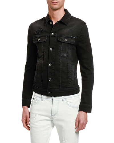 Men's Distressed Denim Jacket