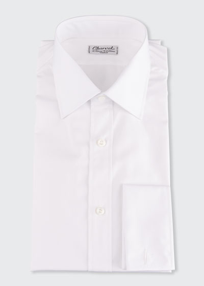 Men's Basic Solid Point-Collar Dress Shirt with French Cuffs